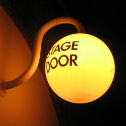 Old Vic stage door sign, photo taken by me (2007)